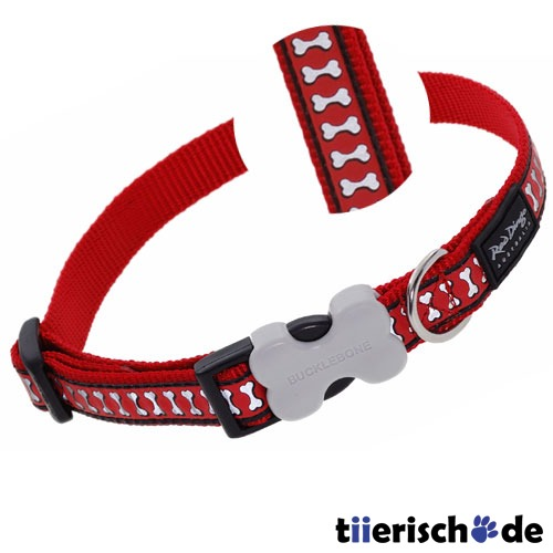 Red Dingo Halsband Reflective Bones