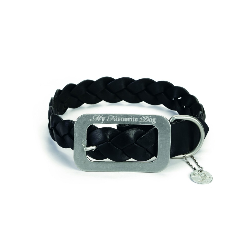 Designed By Lotte Lederhalsband für Hunde geflochten