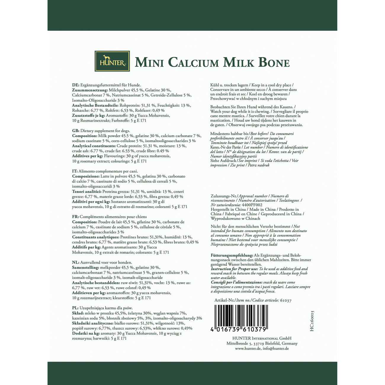Hunter Hundesnack Mini Calcium Milk Bone für kleine Hunde 61037, Bild 3