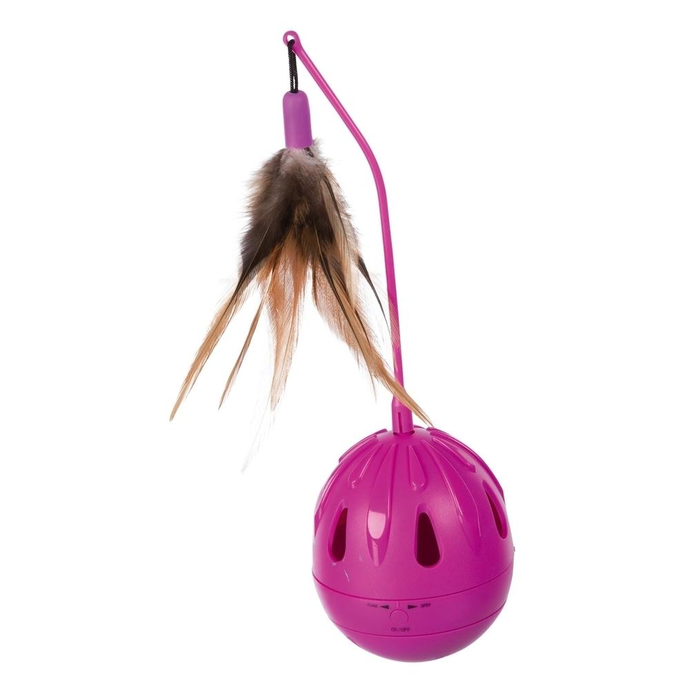 Trixie Katzenspielzeug Steh-Auf-Ei mit Federn und Sound 46016