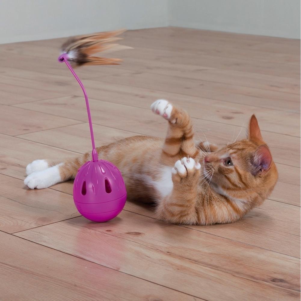 Trixie Katzenspielzeug Steh-Auf-Ei mit Federn und Sound 46016, Bild 3