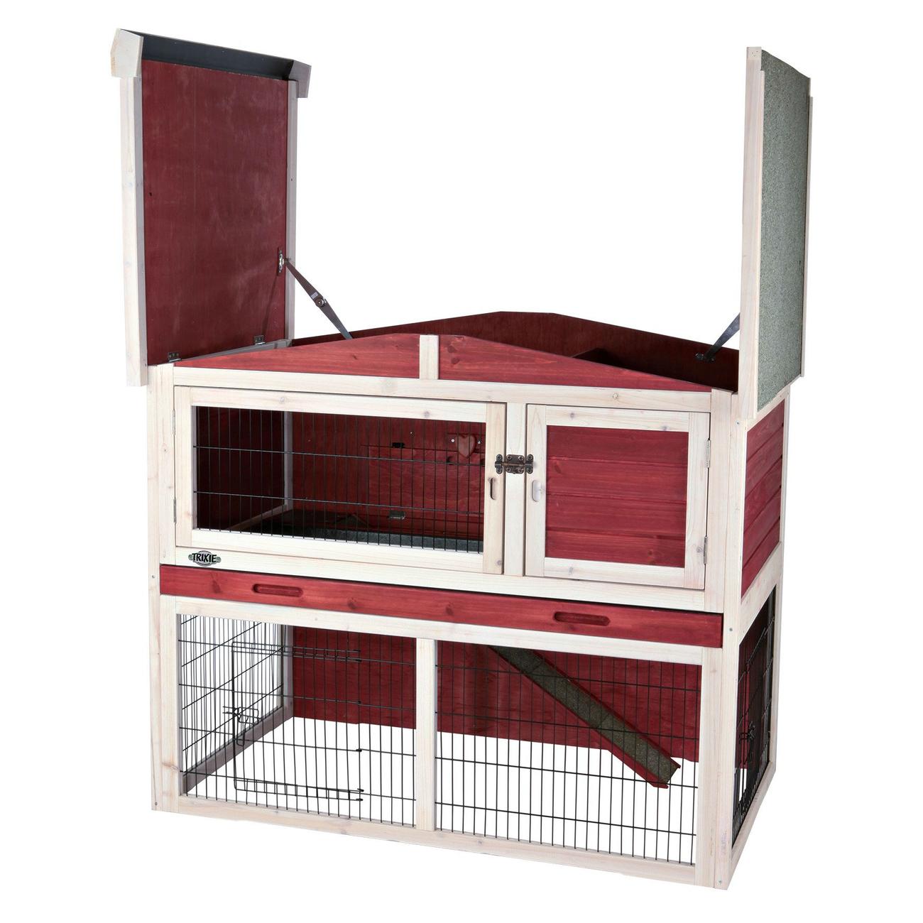 Trixie Natura Kaninchenstall mit Freilaufgehege rot-weiß 62325, Bild 3