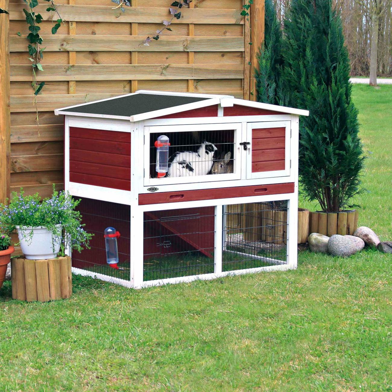 Trixie Natura Kaninchenstall mit Freilaufgehege rot-weiß 62325