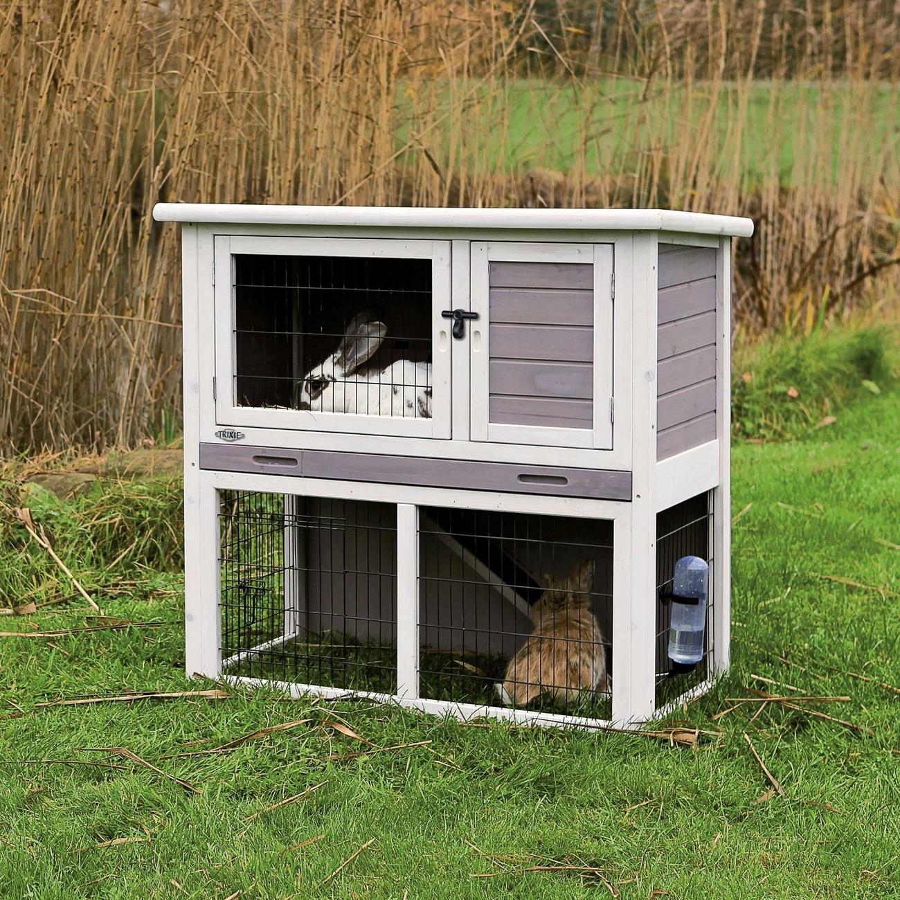 trixie natura kleintierstall mit freilaufgehege grau wei. Black Bedroom Furniture Sets. Home Design Ideas