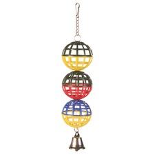 3er Gitterball für Vögel mit Kette und Glocke