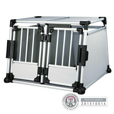Trixie Doppel Transportbox Alubox Autobox für 2 Hunde