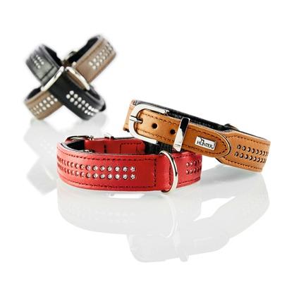 Elchlederhalsband mit Strass Diamond Petit für kleine Hunde