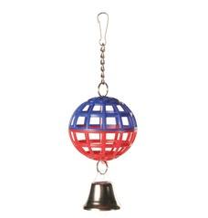 Gitterball Vogelspielzeug mit Kette und Glocke