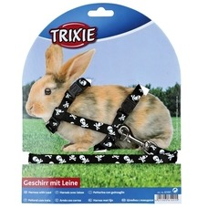 Kaninchengeschirr mit Leine, Totenköpfe