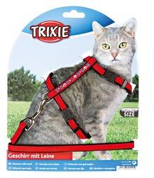 Katzen-Garnitur mit Leine, bestickt, Samt
