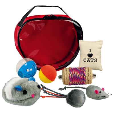 Katzen Spielset in Herztasche, 7-teilig