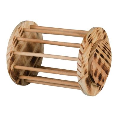 Kleintier Heuraufe rund mit Deckel Holz, geflammt