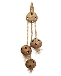 Papageien Spielzeug Kokosnüsse am Tau