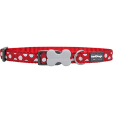Red Dingo Hundehalsband mit weißen Spots