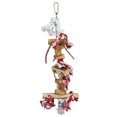Vogelspielzeug aus Holz mit Lederbändchen