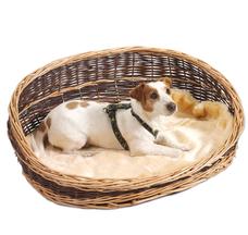 Weidenkorb für Hunde mit hohen Rückenteil